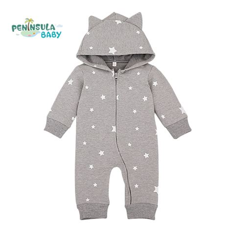 Jumpsuit Cotton Motif pattern hooded baby rompers newborn clothing cotton sleeve jumpsuits
