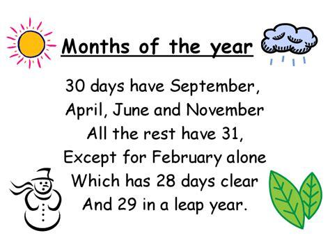 Calendar Rhyme Keep Smiling The 12 Months