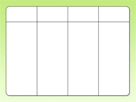 four column chart template empty 3 column chart world of printable and chart