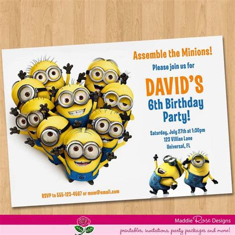 minion card template despicable me invitations birthday celebration ideas