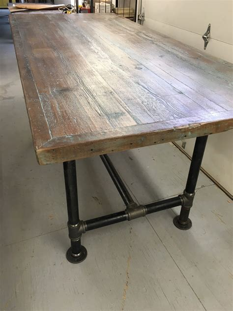 reclaimed wood dining table industrial pipe leg table 6 foot