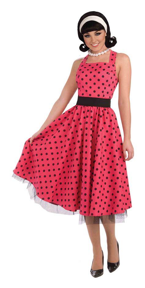 Rok Polka Pink polka dot grease fancy dress costume 1950s rock