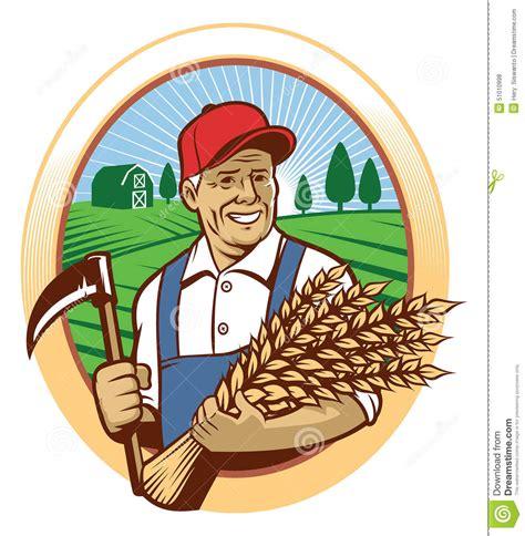 Free Barn Plans farmer harvest the wheat stock vector image 51010998