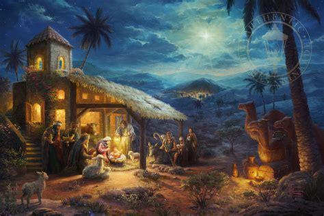 nativity  limited edition canvas thomas kinkade studios