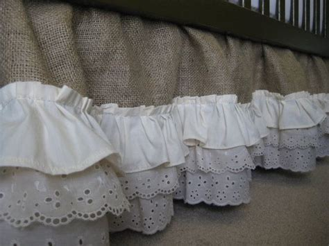 Burlap Crib Bedding by Burlap Ruffle Crib Skirt By Creativecaterpillar On Etsy