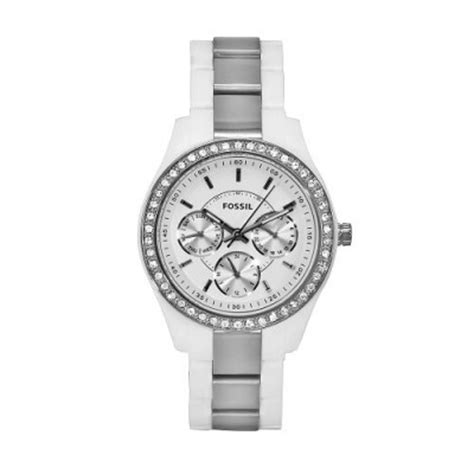 Fossil Blade Silverwhite fossil white and silver analogue es2807 from the stella range watcheo co uk