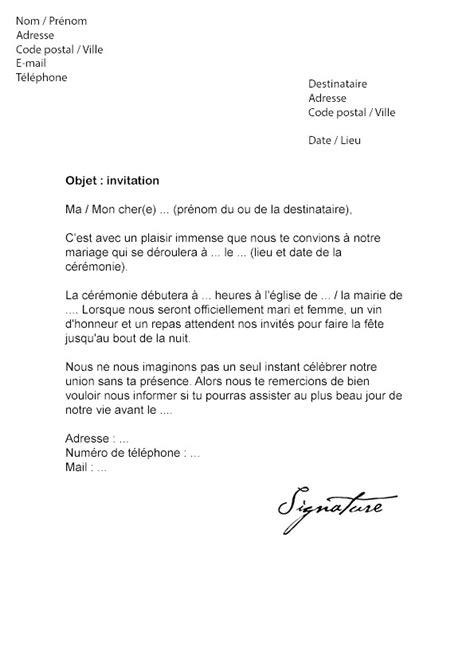 lettre d invitation de mariage dans texte invitation