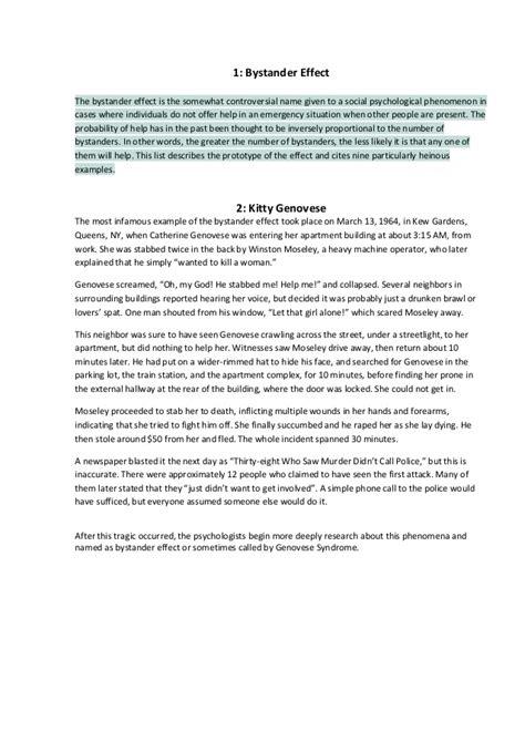 Bystander Effect Essay by Bystander Effect