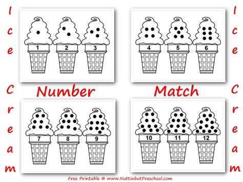 pattern matching only numbers ice cream cone number match 1 12 file folder game nuttin