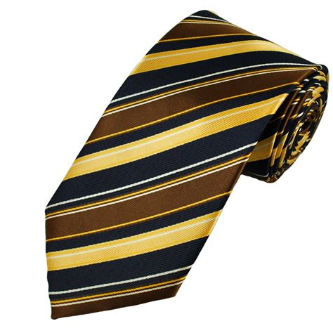navy blue gold brown white striped tie from