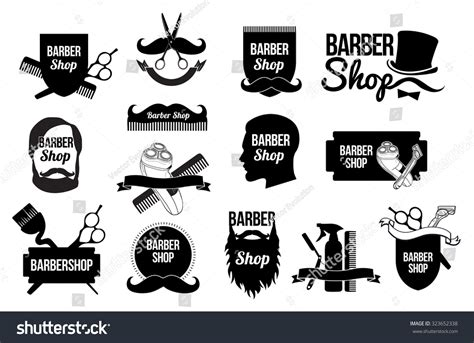 Hairstyle Tools Designs by Mens Haircut Logobarber Shop Logo Design Stock Vector