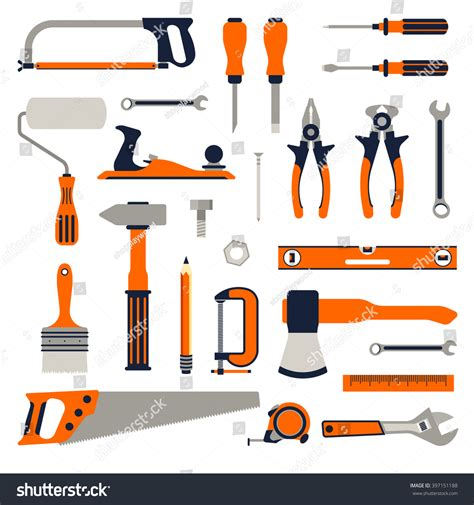 construction repair tools flat icon set stock vector