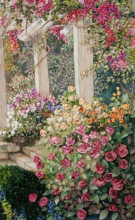 I Ribbonwork Close Up Detail A Beautiful Place Di Ribbon Embroidery Flower Garden
