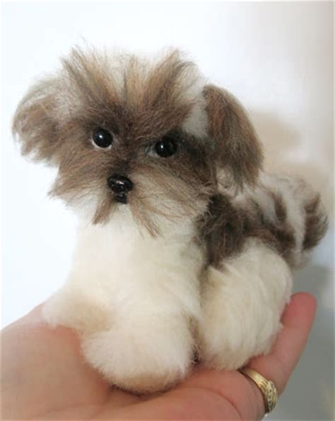 brown and white havanese puppies designs by delightful dogs puppies needle felted by