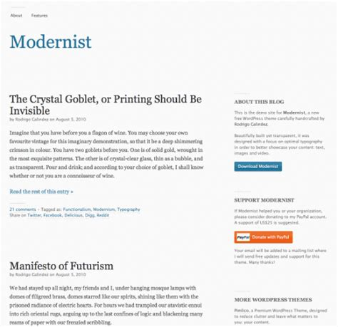 themes in modernist literature usually focused on modernist free wordpress theme with focus on typography