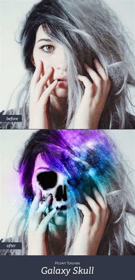 picsart tutorial pinterest turn yourself into a skeleton with a galactic twist