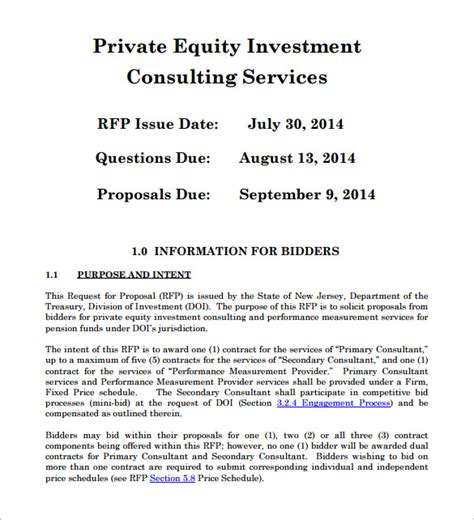 Private Equity Proposal Template One Piece Investor Business Template