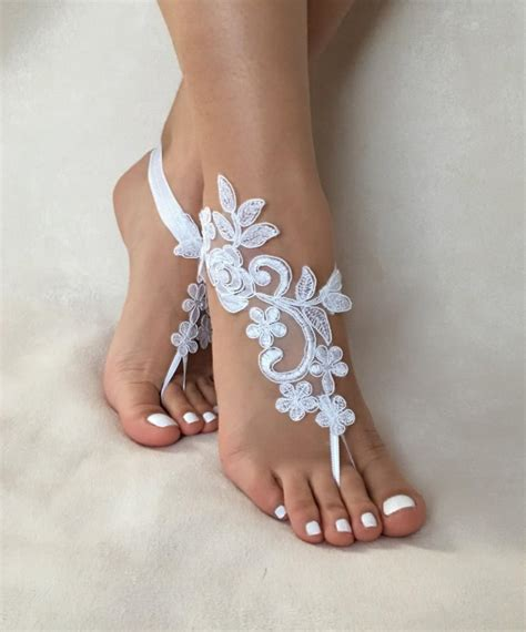 Lace Sandals Wedding by White Lace Barefoot Sandals Free Ship Wedding
