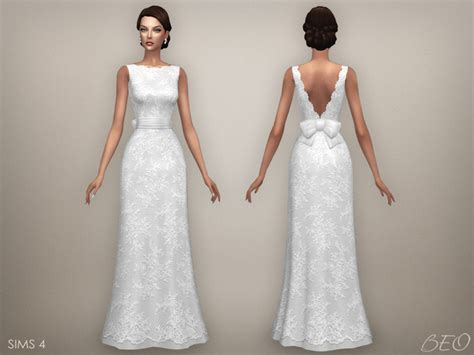 Wedding Dress The Sims 4 by My Sims 4 Ellie Wedding Dress By Beo