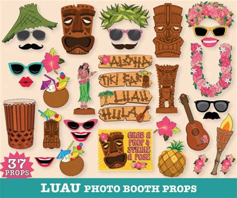 printable photo booth props summer luau photo booth props hawaiian luau beach party