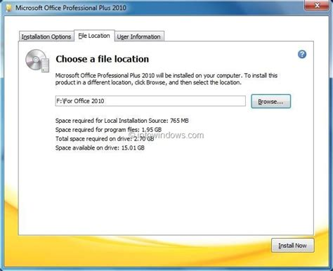 Office Install by How To Install Office 2010 On A Different Partition