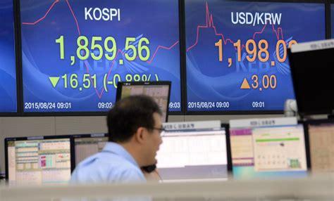 korea exchange bank exchange rate seoul markets plunge on china n k woes