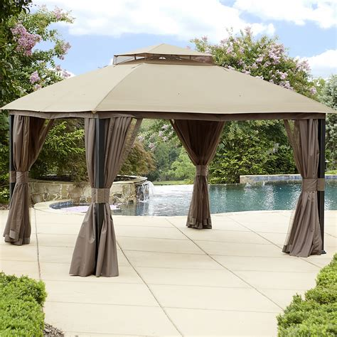 gazebos with curtains nets garden oasis 10 x 12 privacy gazebo limited availability
