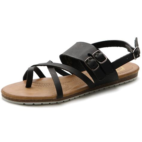 ollio s shoes side buckle gladiator zip closure flats zori sandals