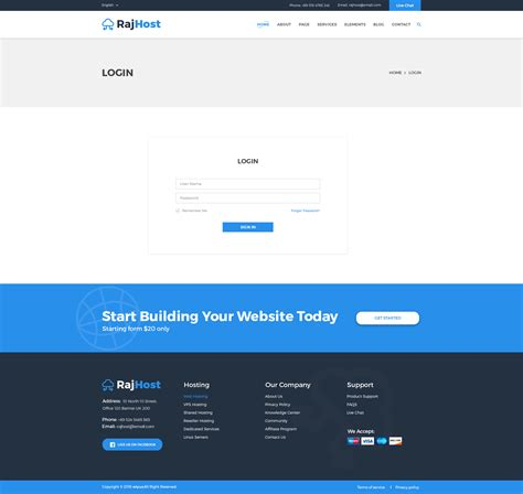 rajhost web hosting with psd template by regaltheme