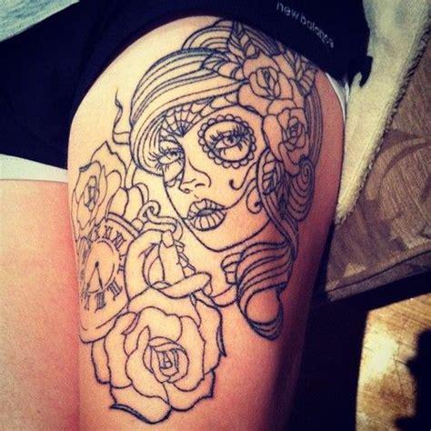 sugar skull thigh tattoos tattoos with skull thigh tattooed sugar