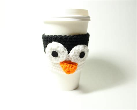 java pattern holder coffee cozy penguin coffee sleeve crochet animal can holder