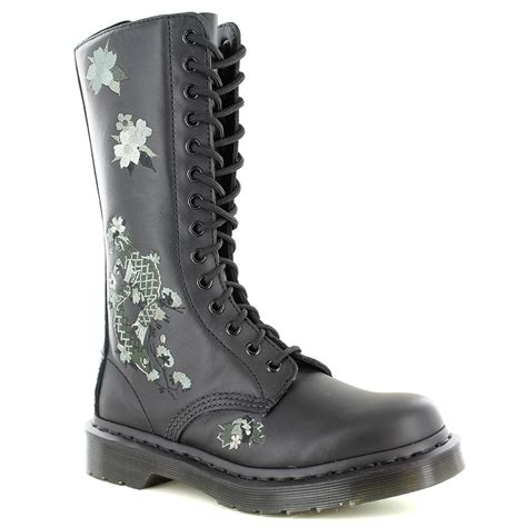dr martens anissa womens 14 eyelet zip embroidered leather