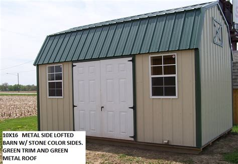 Shed Rentals Inc by 10x16 Metal Side Lofted Barn W Green Metal Roof