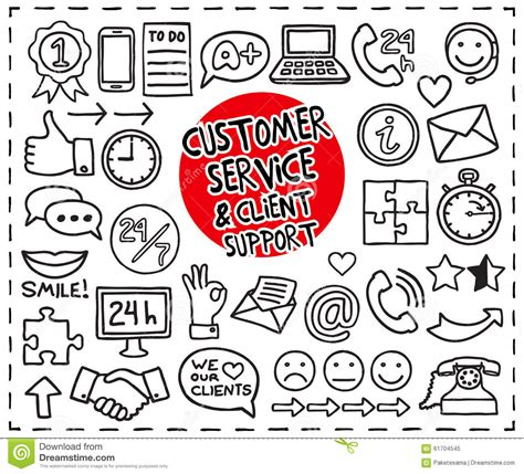 doodle graphic design services doodle customer service icons stock vector image 61704545