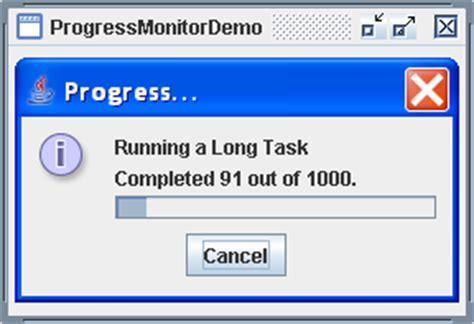 java swing modal dialog a demonstration of the jprogressbar component
