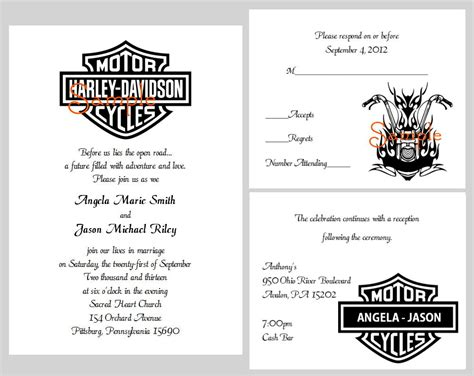 100 Personalized Custom Harley Davidson Motorcycle Bridal Wedding Invitations Custom Harleys Motorcycle Birthday Invitation Templates