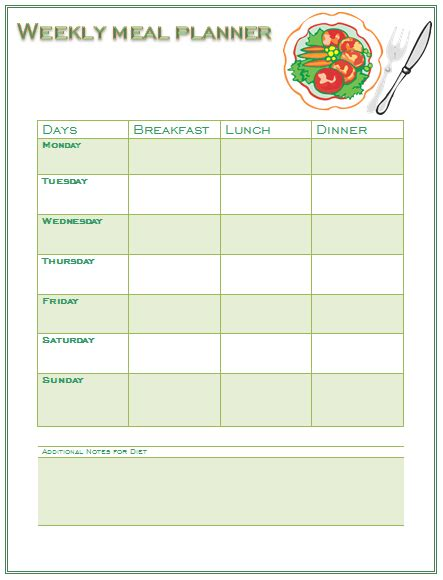 Perfect Meal Planning Template For You And Your Family Meal Plan Template Word
