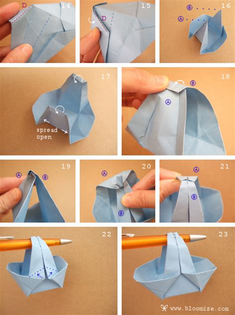 How To Make Origami Flower Basket - a wider origami basket bloomize