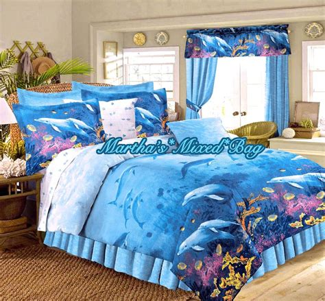 ocean blue comforter sets dolphin bedding tropical beach ocean blue king full size