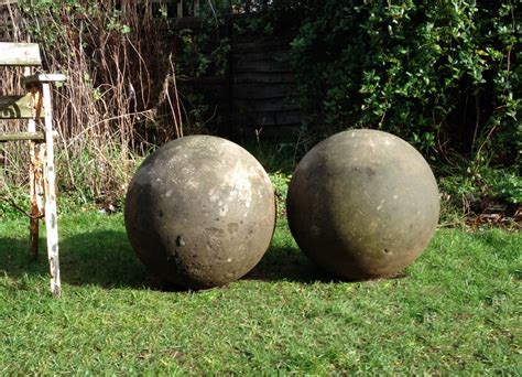 pair of large composite stone balls in from the vintage garden company