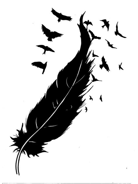 feather design tattoo feather turning into birds clipart