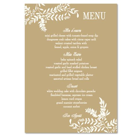 Menu Cards Template Wedding Reception by Wedding Menues New Calendar Template Site