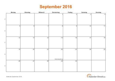 September Kalender 2016 September 2016 Kalender Mit Feiertagen