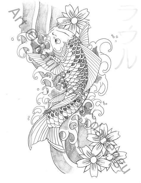 koi fish tattoo outline designs cool zone japanese koi fish designs gallery