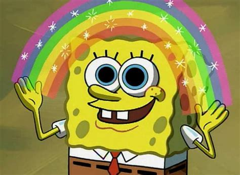 Spongebob Rainbow Meme - imagination spongebob blank meme template imgflip