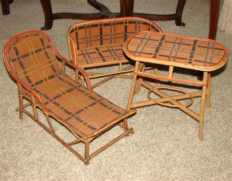 Antique Rattan Furniture by Antique Era 3pc Miniature Or Bru Doll Sized