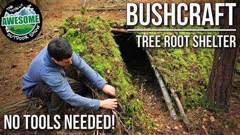 shelters in ta bushcraft shelters tree root shelter with no tools ta outdoors