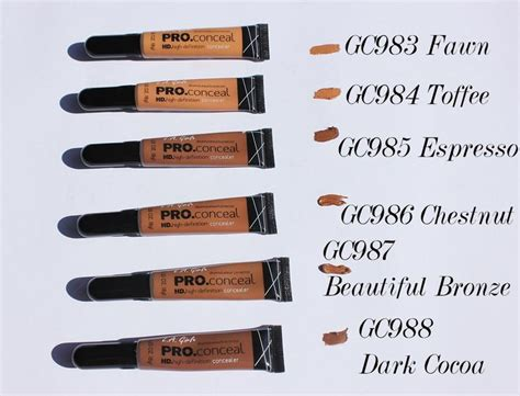 la colors pro concealer la pro concealer swatches beautiful bronze