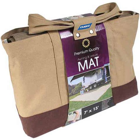 camco awning leisure mat 7 x 15 brown with canvas bag