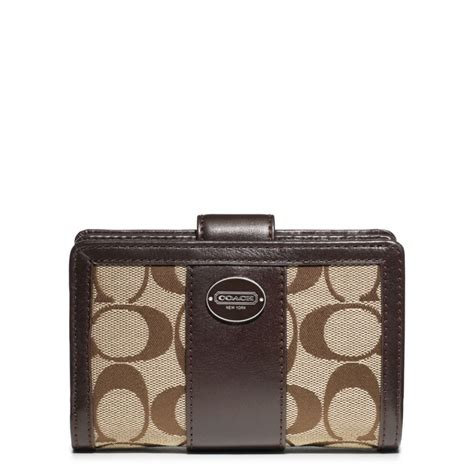 Coach Legacy Signature Cotton Slim Flap by Lyst Coach Legacy Signature Medium Zip Wallet In Brown